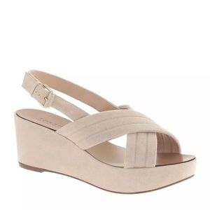 J. Crew Marcie wedge cross suede sandal 7.5